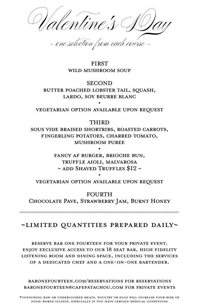 Bar One Fourteen Menu Vday